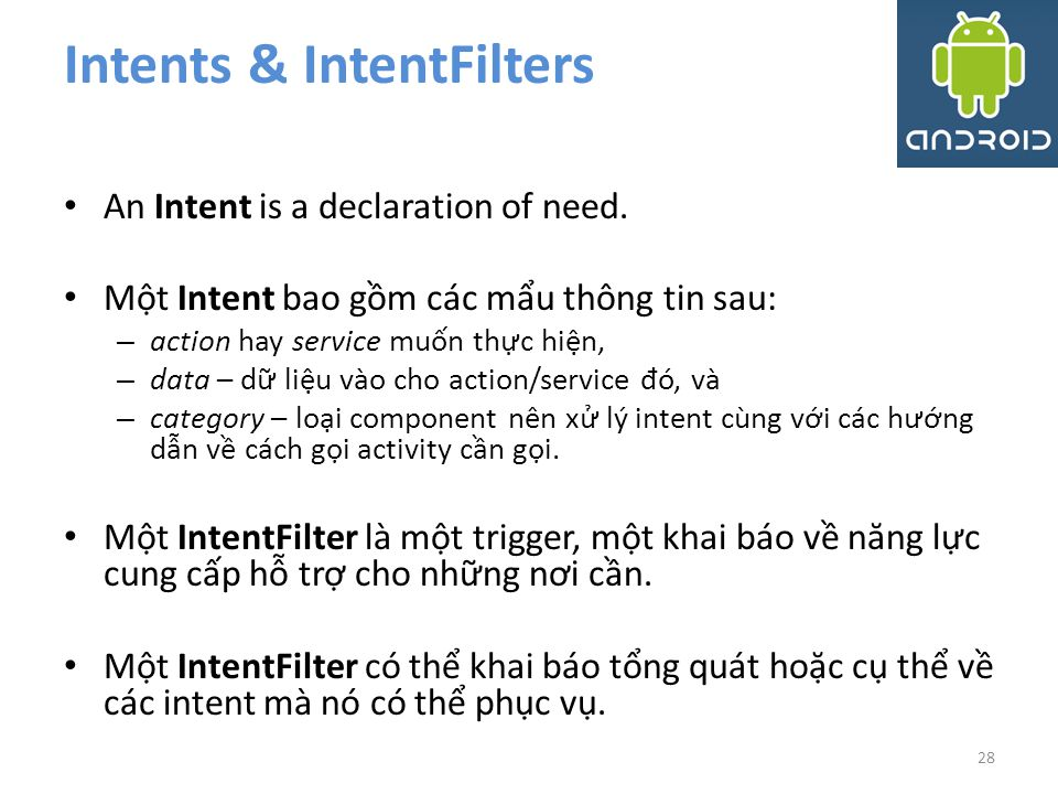 Intents & IntentFilters