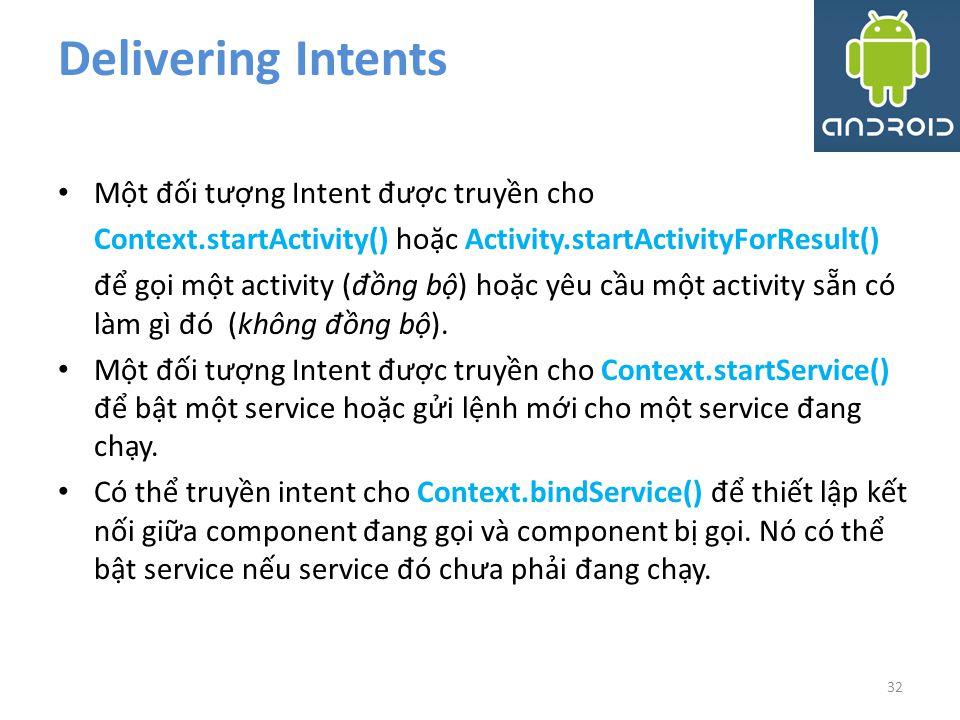 Delivering Intents Một đối tượng Intent được truyền cho
