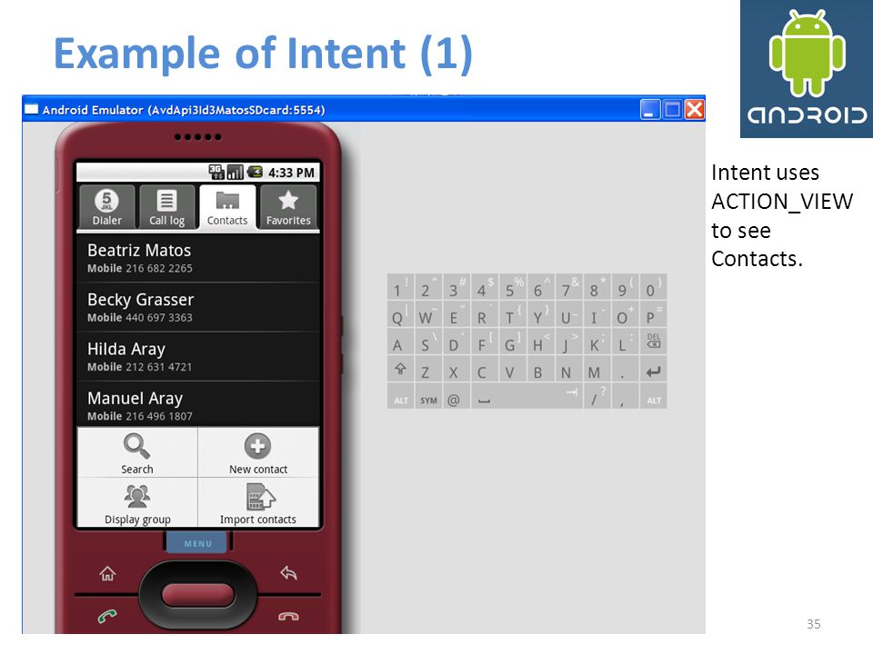 Example of Intent (1) Intent uses ACTION_VIEW to see Contacts.