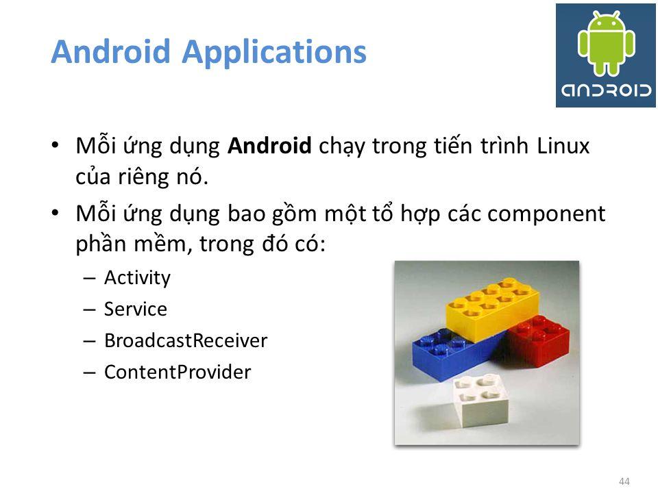 Android Applications Mỗi ứng dụng Android chạy trong tiến trình Linux của riêng nó.