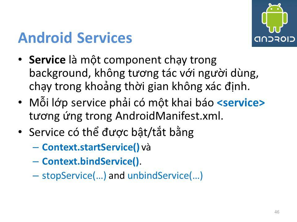 Android Services Service là một component chạy trong background, không tương tác với người dùng, chạy trong khoảng thời gian không xác định.