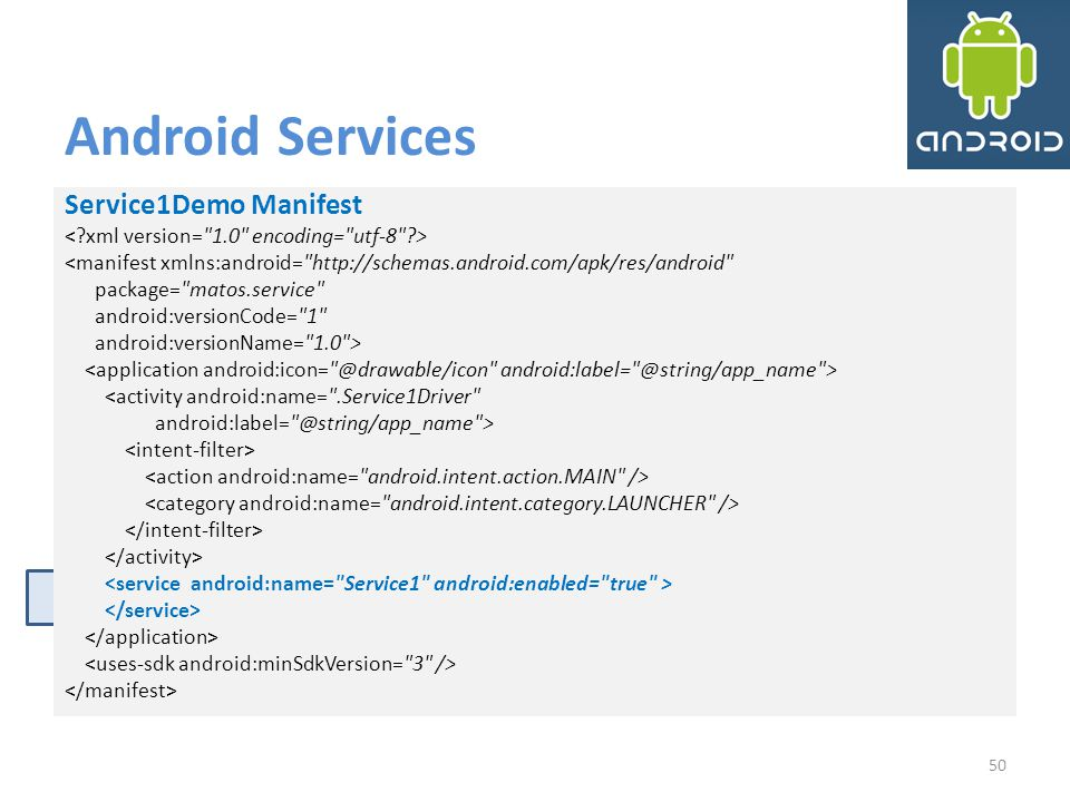 Android Services Service1Demo Manifest