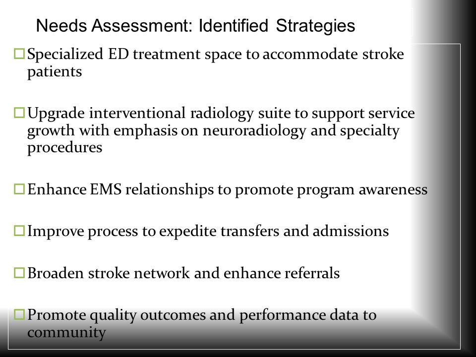 Needs Assessment: Identified Strategies