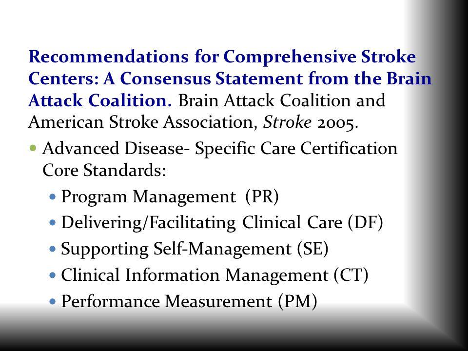 Advanced Disease- Specific Care Certification Core Standards:
