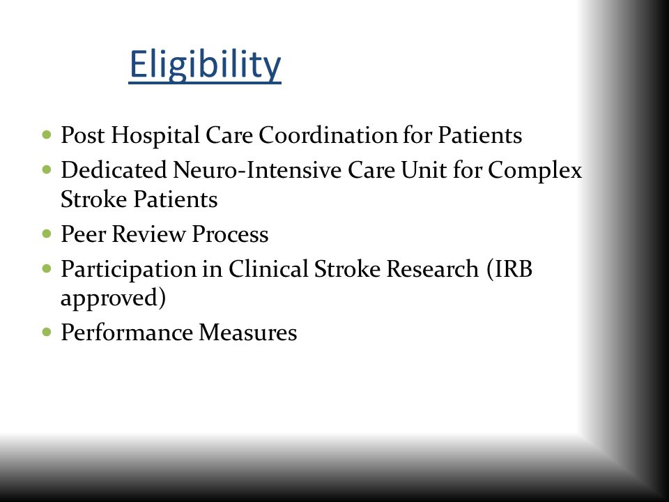 Eligibility Post Hospital Care Coordination for Patients