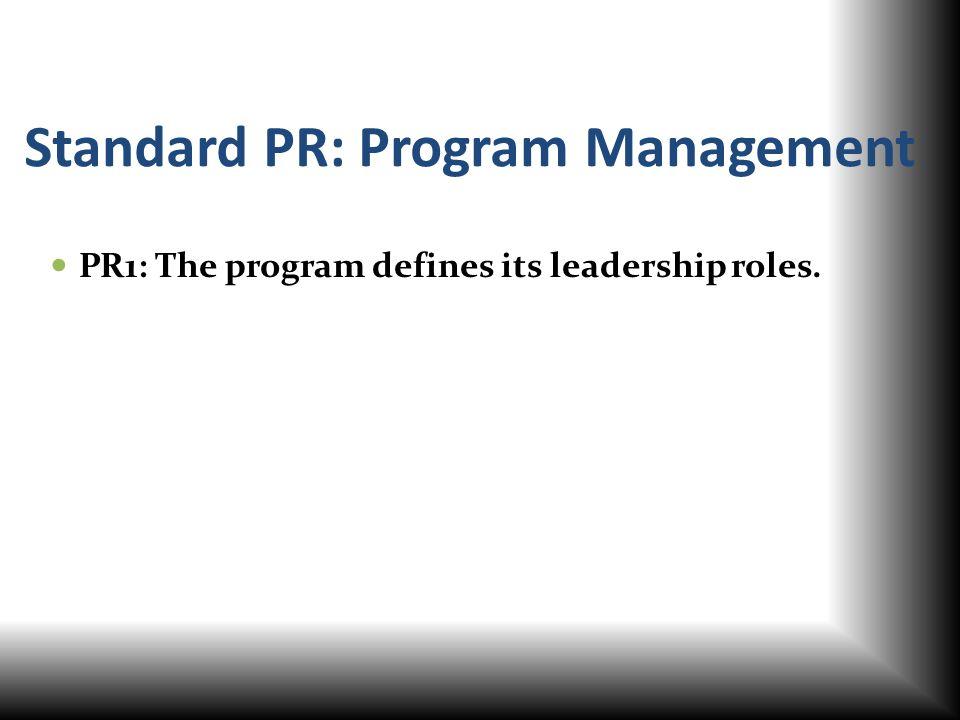Standard PR: Program Management