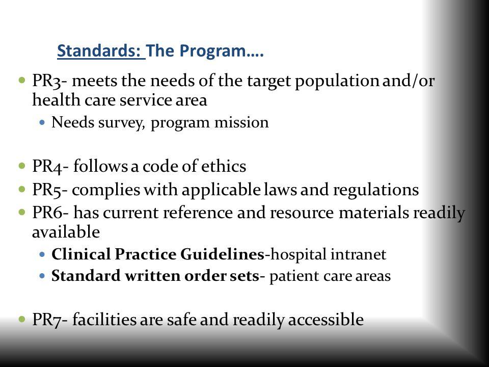 Standards: The Program….