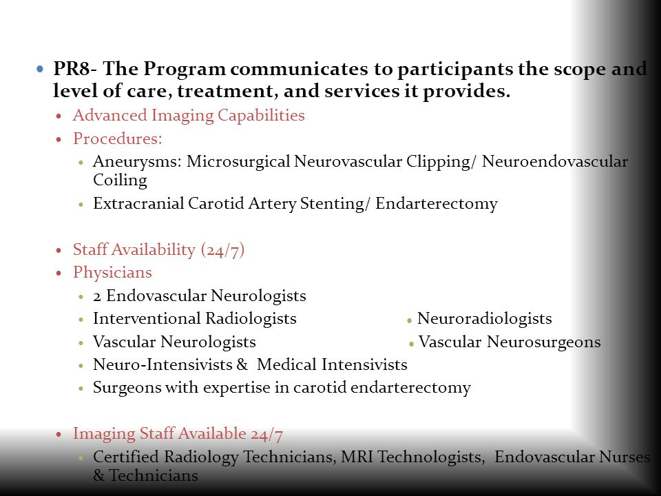 PR8- The Program communicates to participants the scope and level of care, treatment, and services it provides.