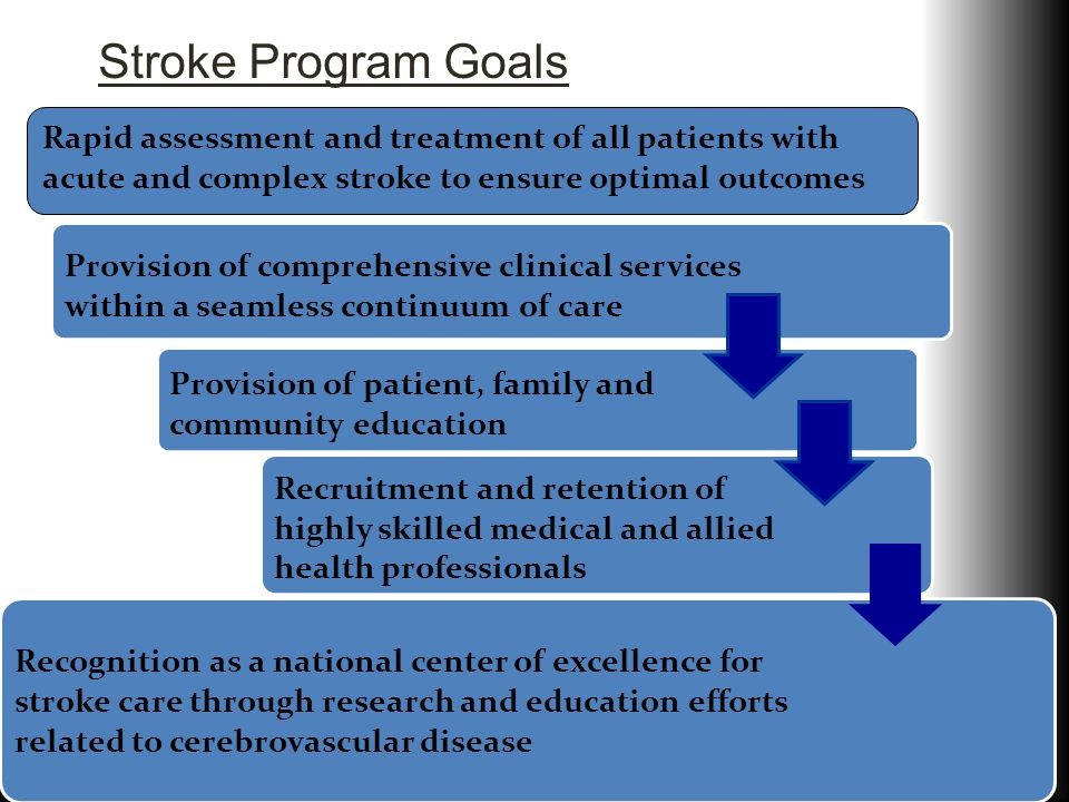Stroke Program Goals Provision of comprehensive clinical services within a seamless continuum of care.