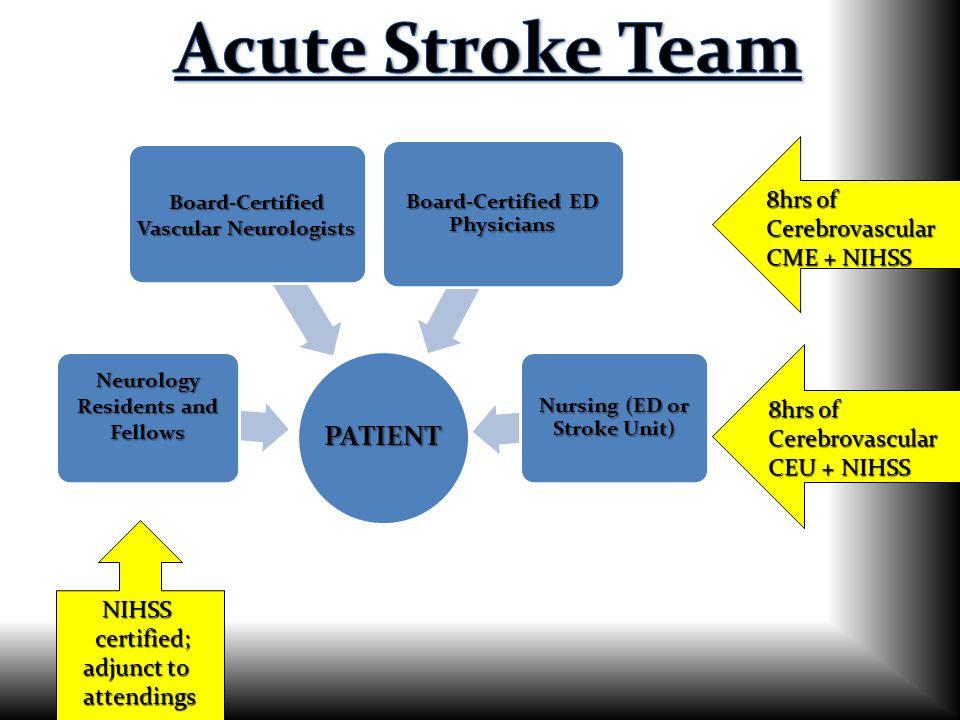 Acute Stroke Team PATIENT 8hrs of Cerebrovascular CME + NIHSS