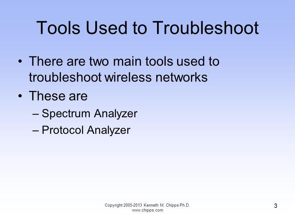 Tools Used to Troubleshoot