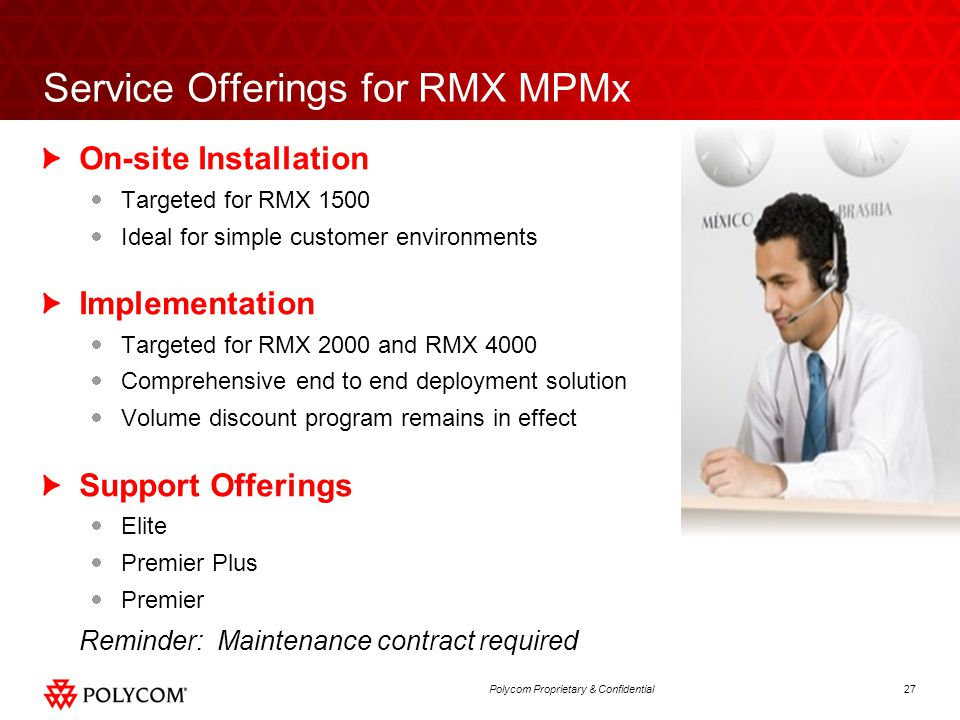 Service Offerings for RMX MPMx
