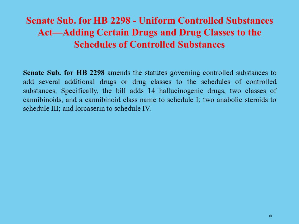 Senate Sub. for HB 2298 - Uniform Controlled Substances Act—Adding Certain Drugs and Drug Classes to the Schedules of Controlled Substances