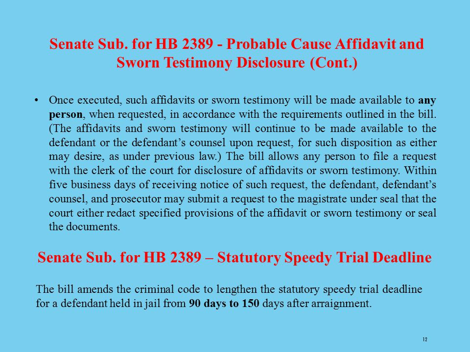 Senate Sub. for HB 2389 – Statutory Speedy Trial Deadline