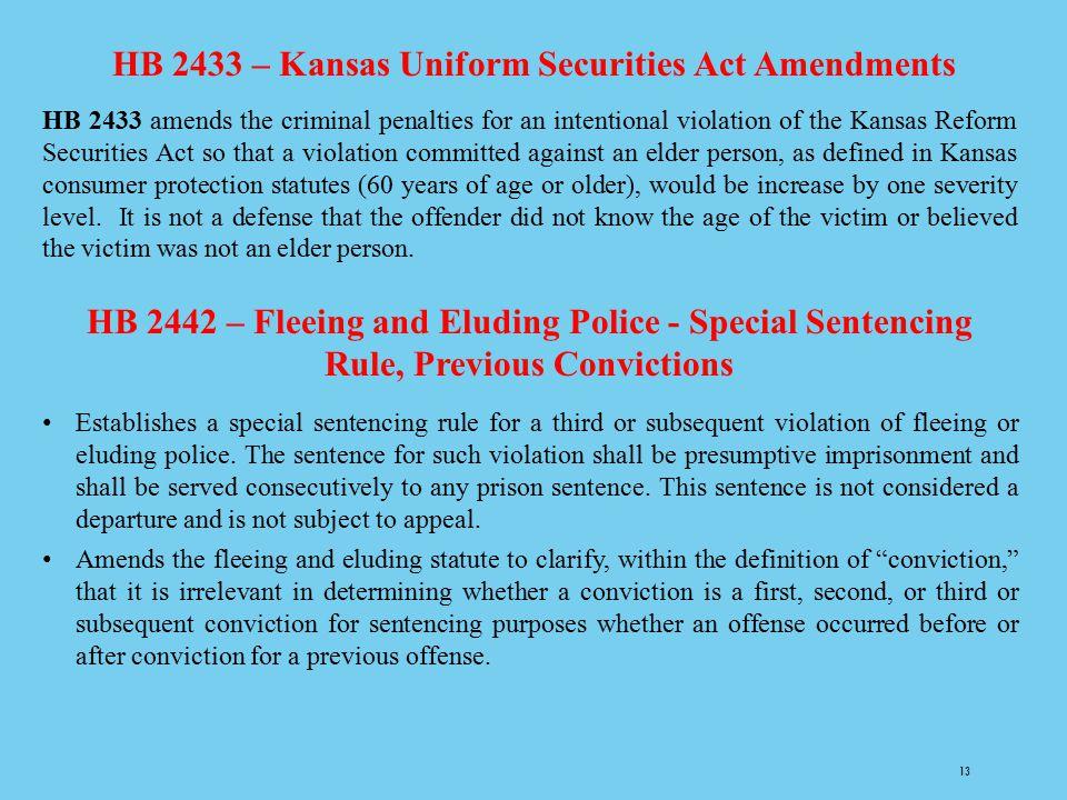 HB 2433 – Kansas Uniform Securities Act Amendments