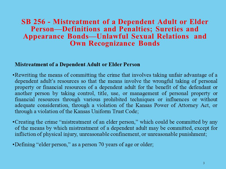 SB 256 - Mistreatment of a Dependent Adult or Elder Person—Definitions and Penalties; Sureties and Appearance Bonds—Unlawful Sexual Relations and Own Recognizance Bonds