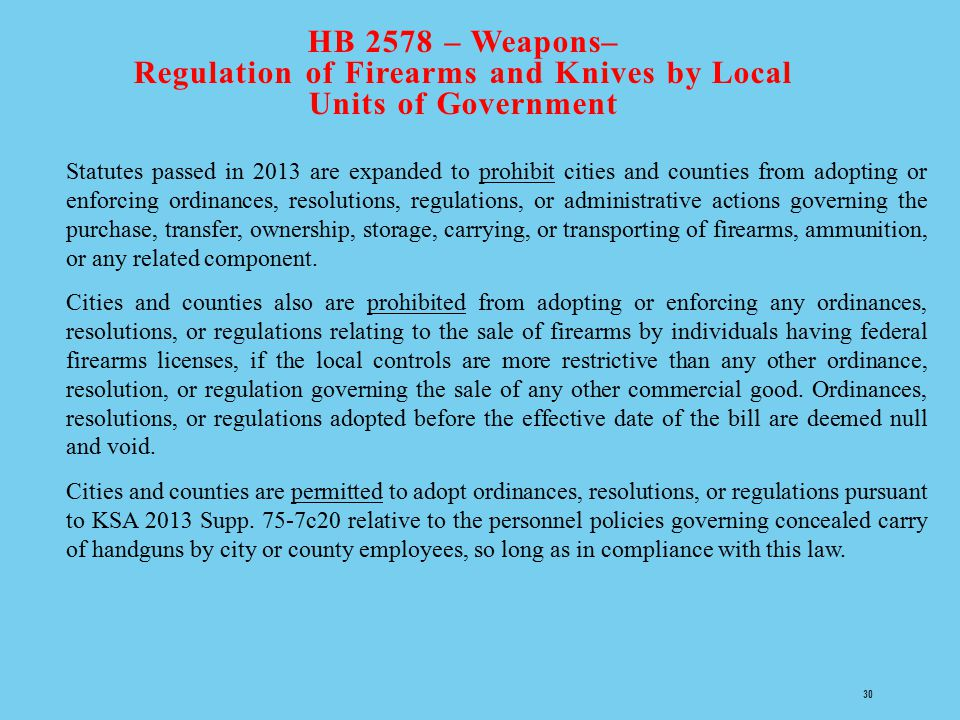 HB 2578 – Weapons– Regulation of Firearms and Knives by Local Units of Government