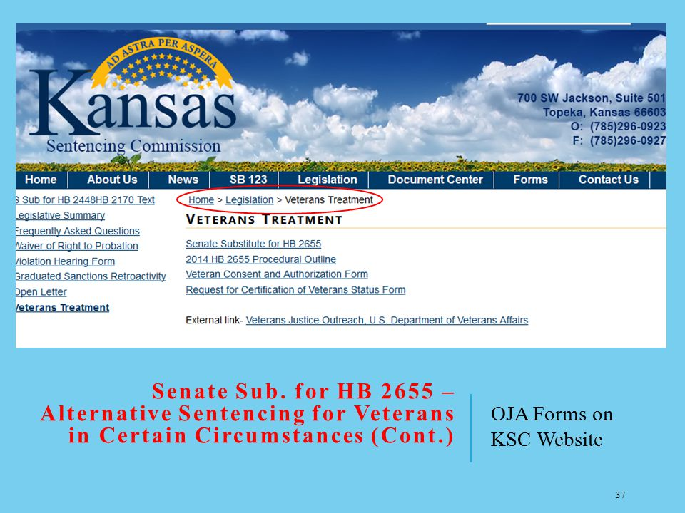 Senate Sub. for HB 2655 – Alternative Sentencing for Veterans in Certain Circumstances (Cont.)