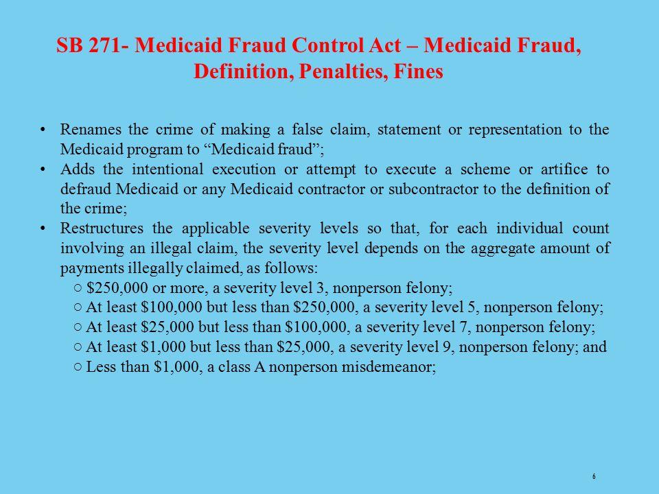 SB 271- Medicaid Fraud Control Act – Medicaid Fraud, Definition, Penalties, Fines