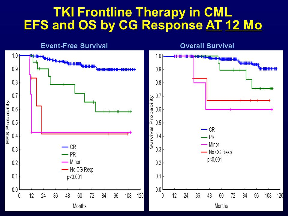 TKI Frontline Therapy in CML EFS and OS by CG Response AT 12 Mo