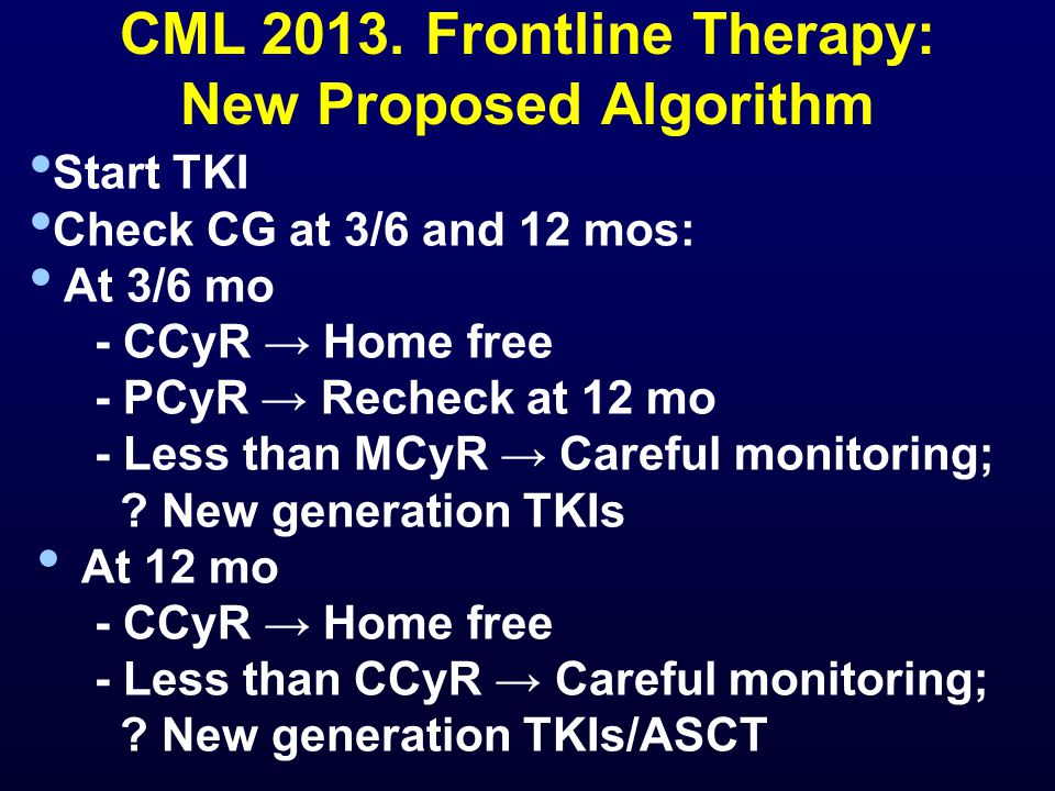 CML 2013. Frontline Therapy: New Proposed Algorithm