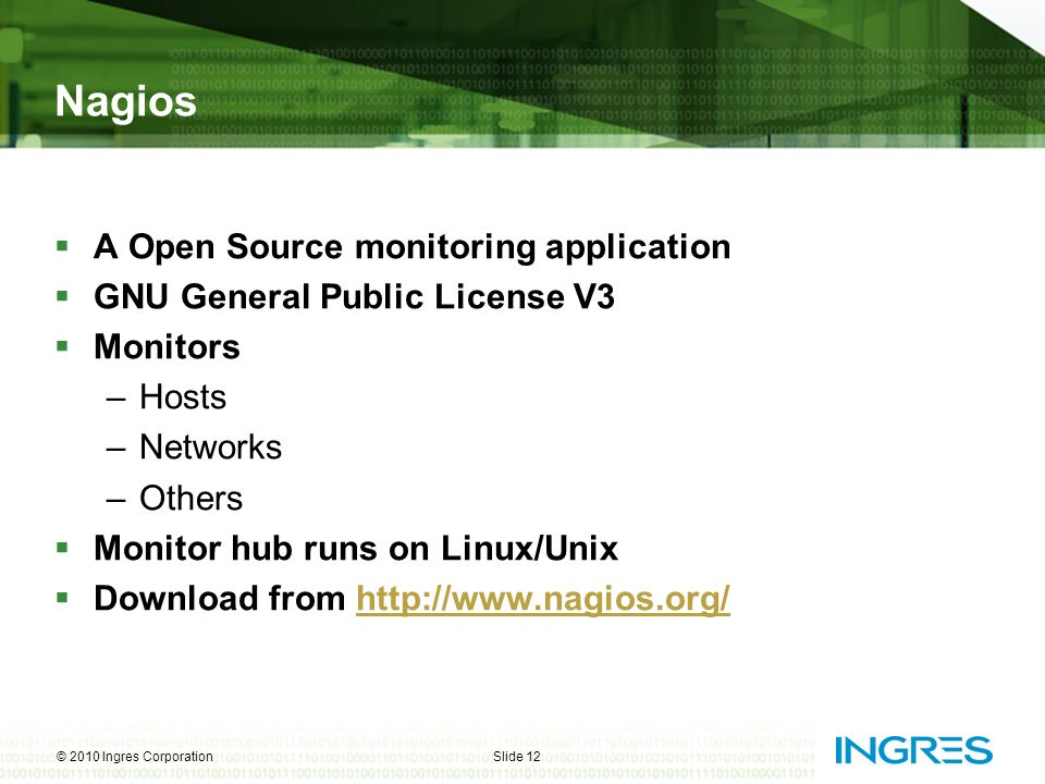 Nagios A Open Source monitoring application