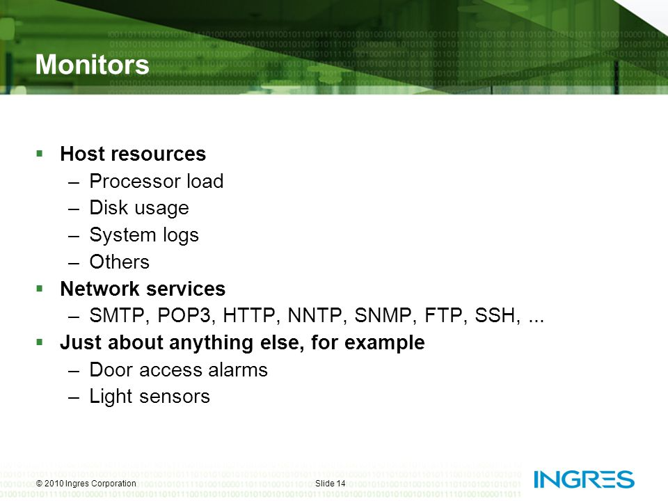 Monitors Host resources Processor load Disk usage System logs Others