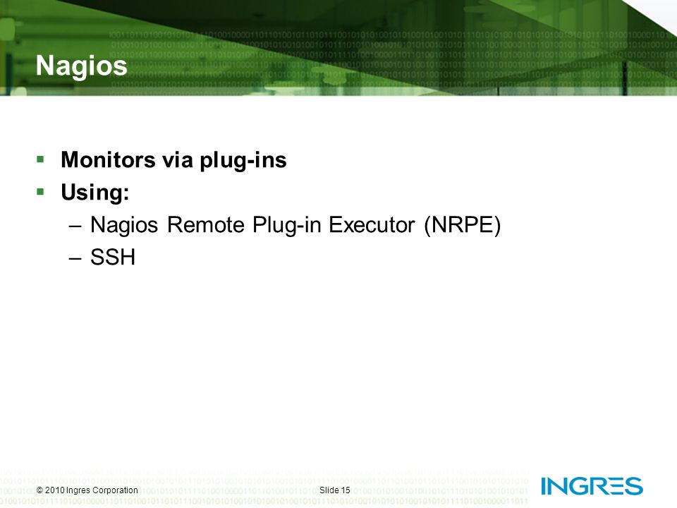 Nagios Monitors via plug-ins Using: