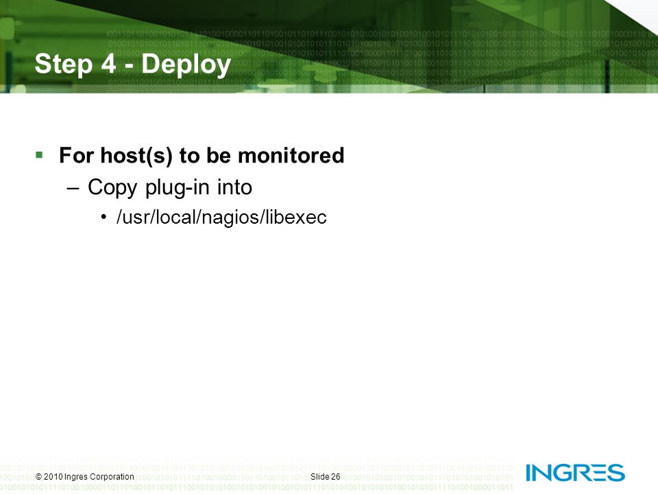 Step 4 - Deploy For host(s) to be monitored Copy plug-in into