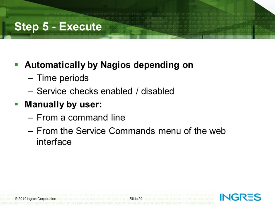 Step 5 - Execute Automatically by Nagios depending on Time periods
