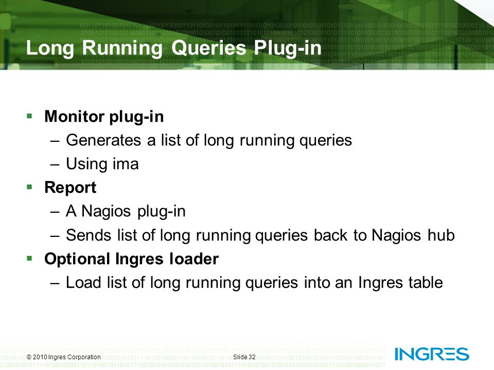 Long Running Queries Plug-in