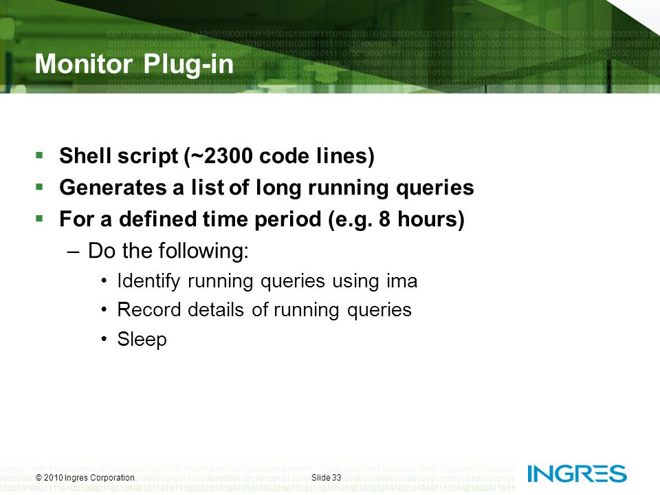 Monitor Plug-in Shell script (~2300 code lines)