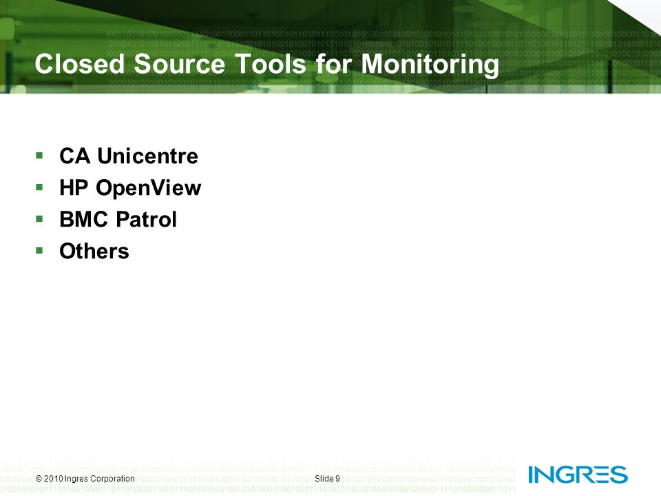 Closed Source Tools for Monitoring