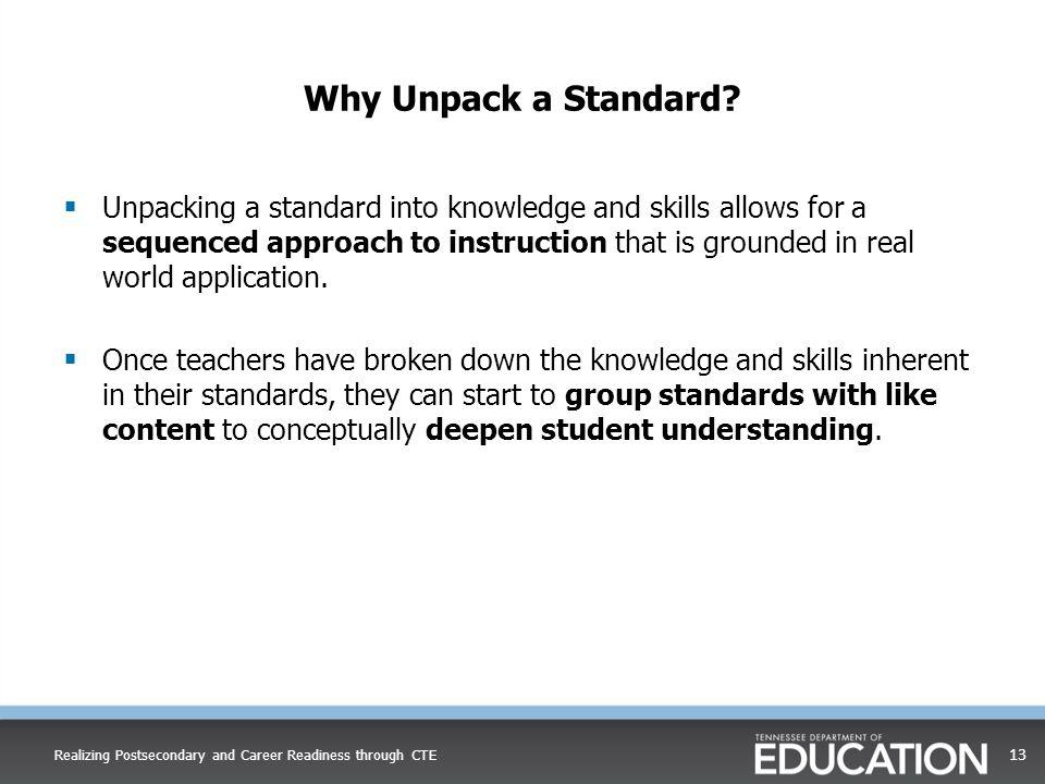 Why Unpack a Standard