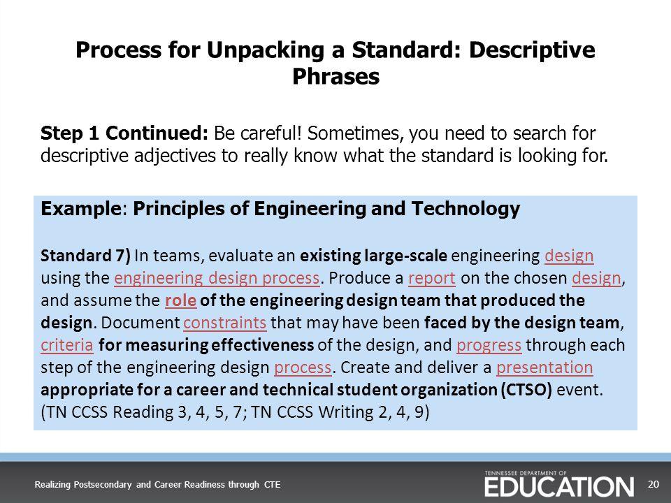 Process for Unpacking a Standard: Descriptive Phrases