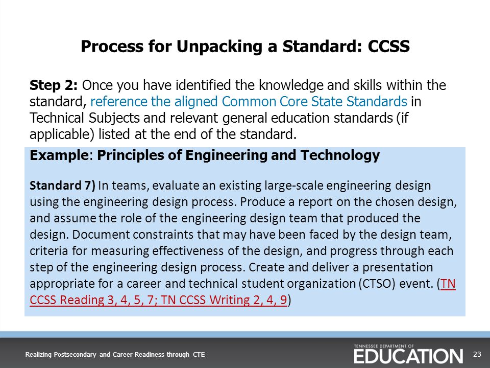 Process for Unpacking a Standard: CCSS