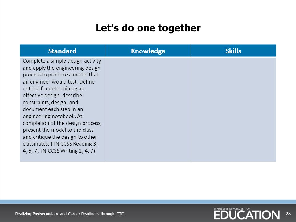 Let's do one together Standard Knowledge Skills