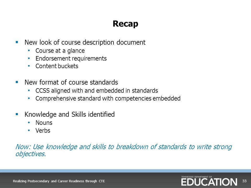 Recap New look of course description document