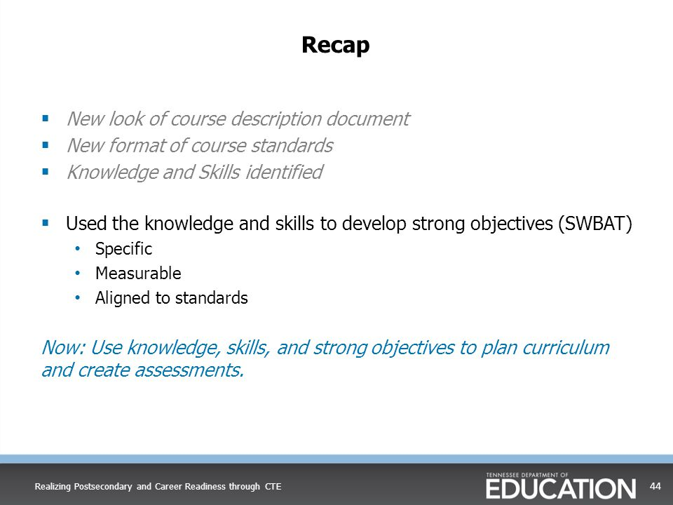 Recap New look of course description document