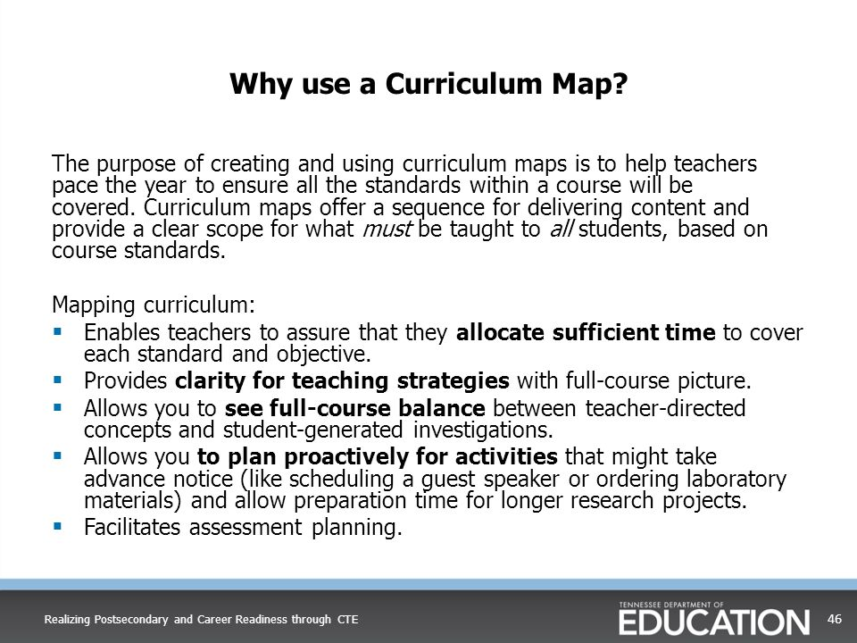 Why use a Curriculum Map