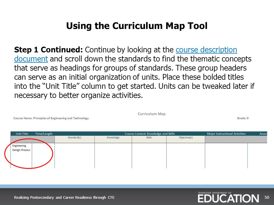 Using the Curriculum Map Tool