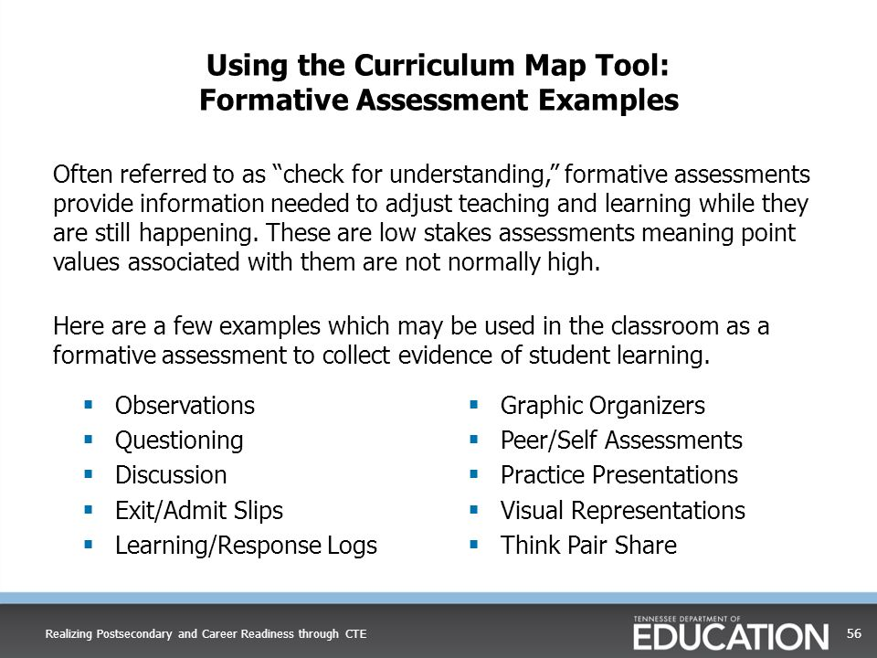 Using the Curriculum Map Tool: Formative Assessment Examples