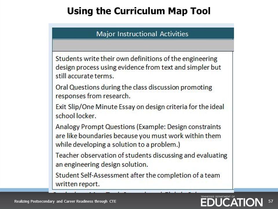 Using the Curriculum Map Tool
