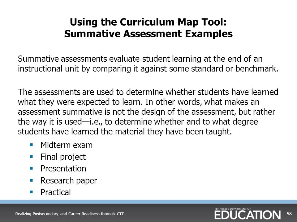 Using the Curriculum Map Tool: Summative Assessment Examples