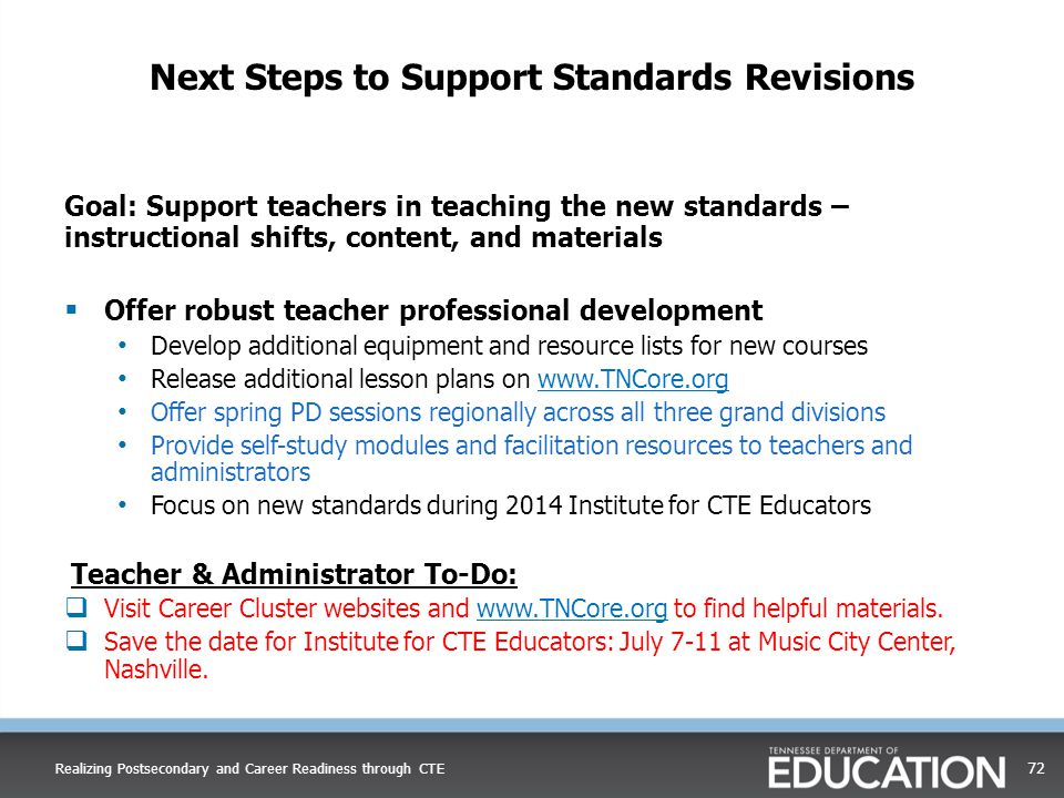 Next Steps to Support Standards Revisions