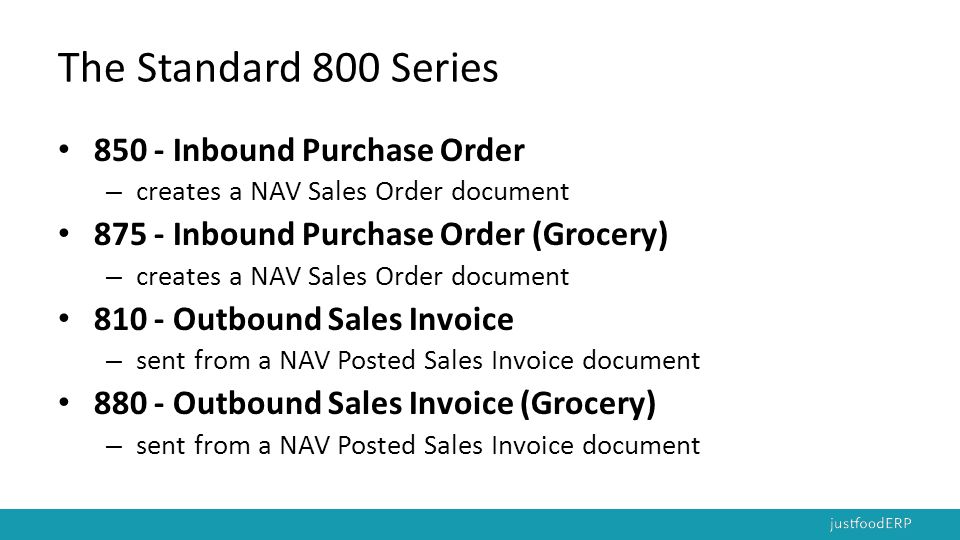 The Standard 800 Series 850 - Inbound Purchase Order