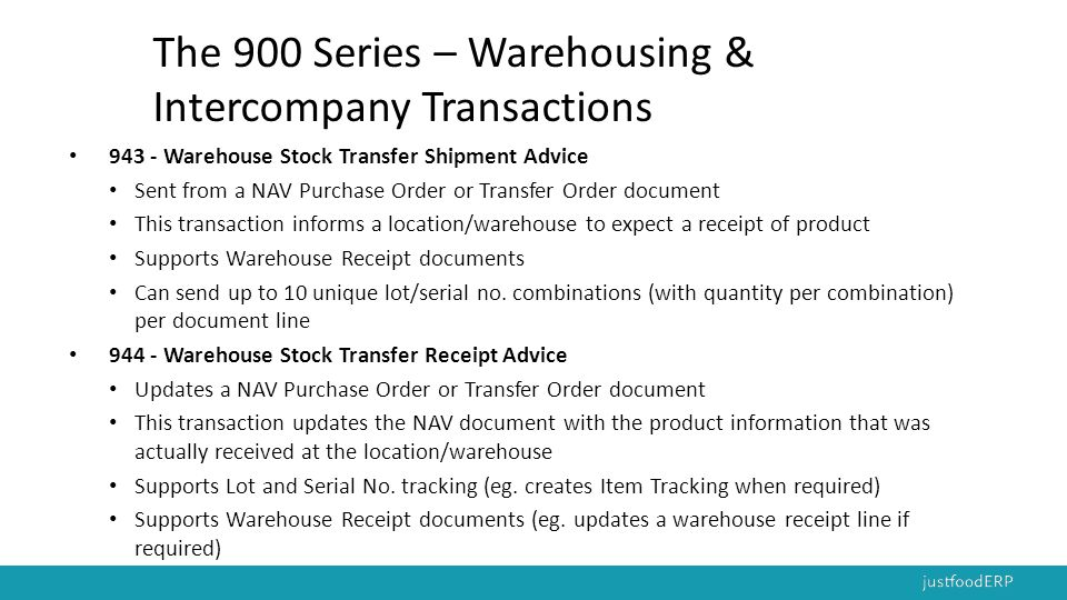 The 900 Series – Warehousing & Intercompany Transactions