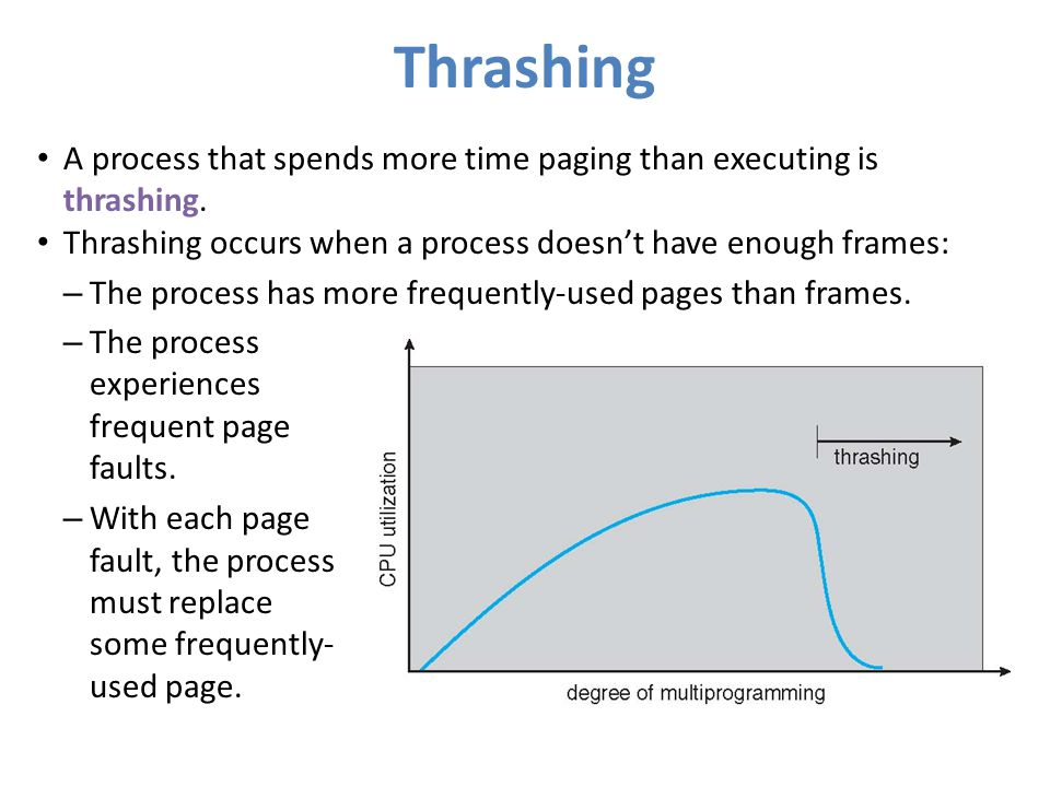 Thrashing A process that spends more time paging than executing is thrashing. Thrashing occurs when a process doesn't have enough frames: