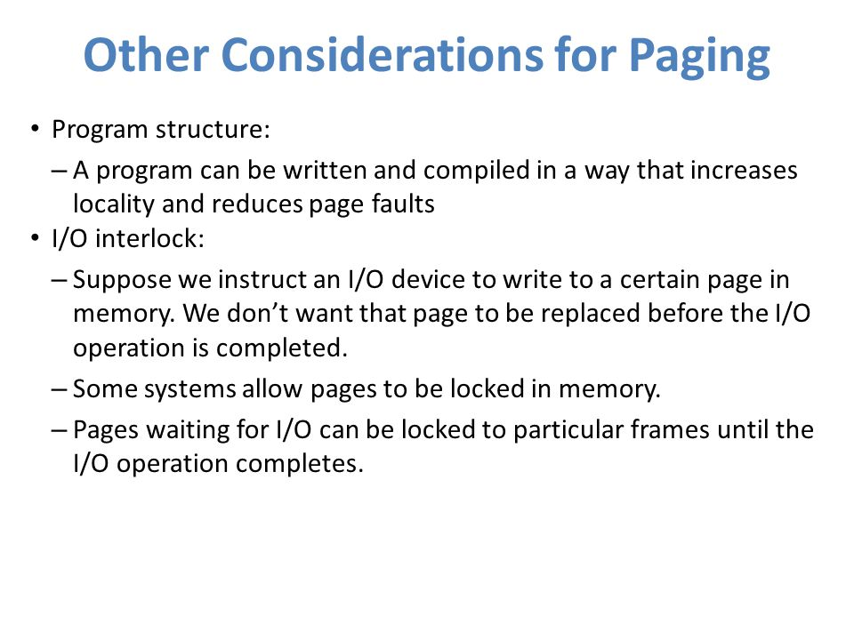 Other Considerations for Paging