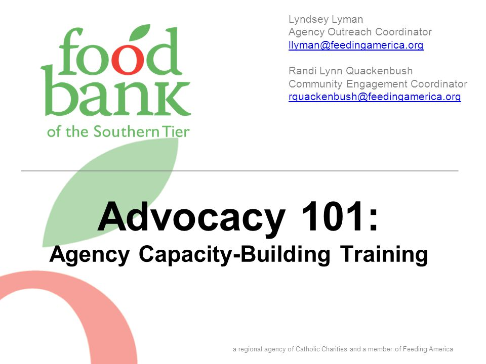 Advocacy 101: Agency Capacity-Building Training